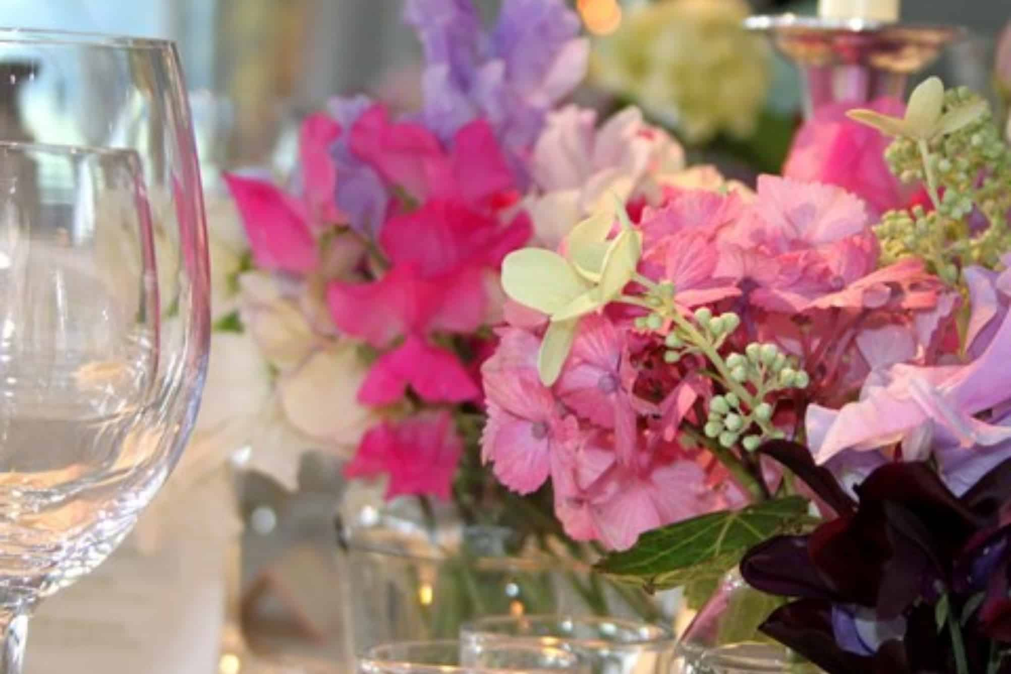 Colourful wedding centrepieces