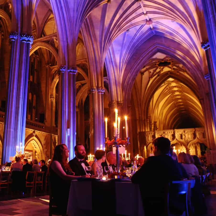 Dinner event within Bristol Cathedral