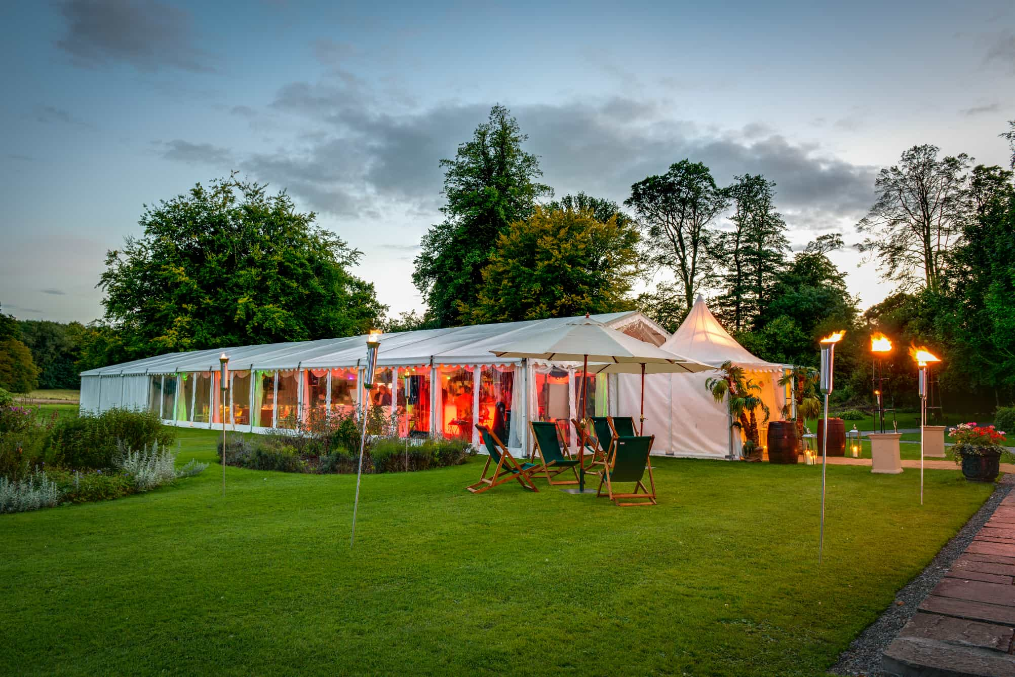Marquee with external furniture