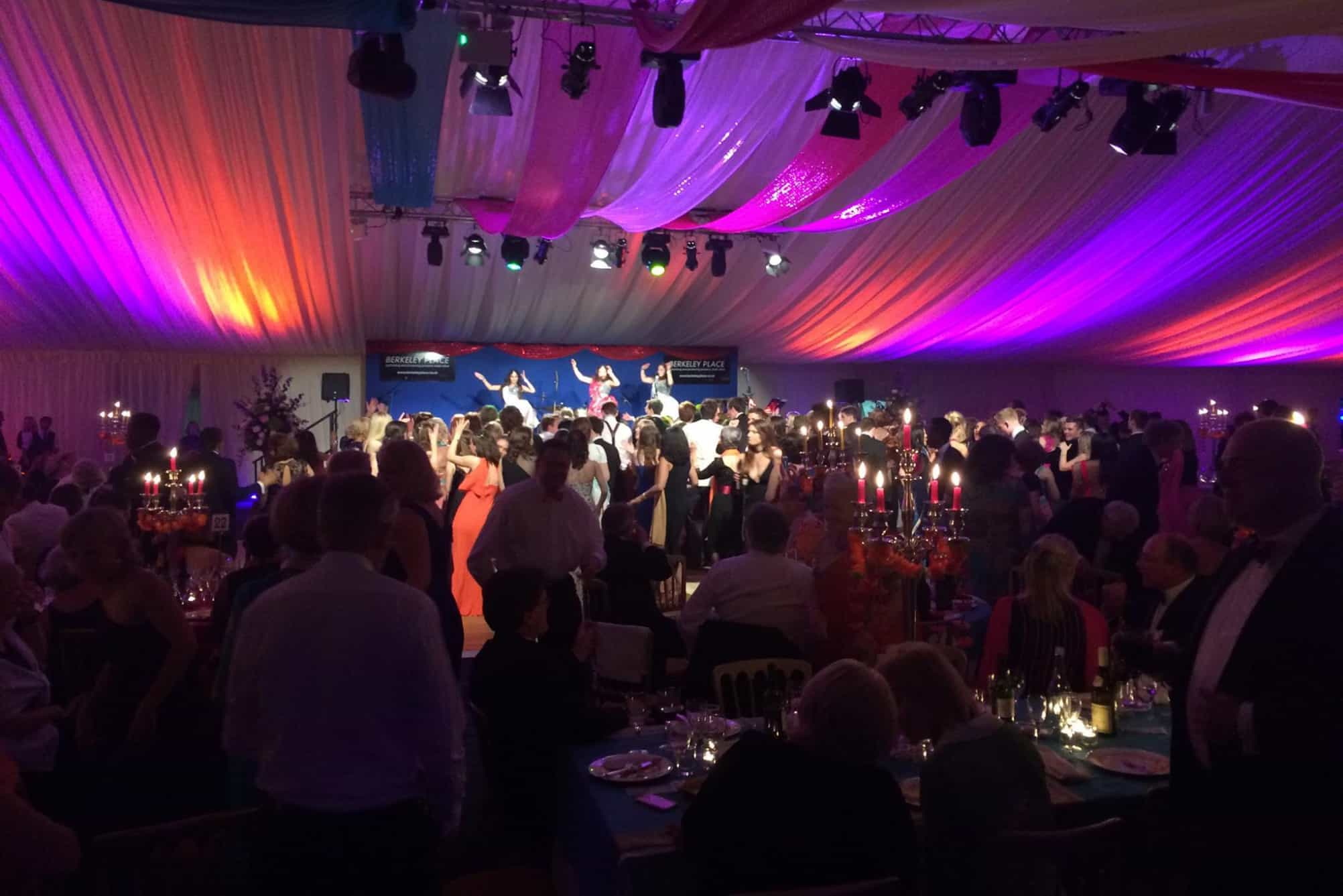 Colourful marquee linings