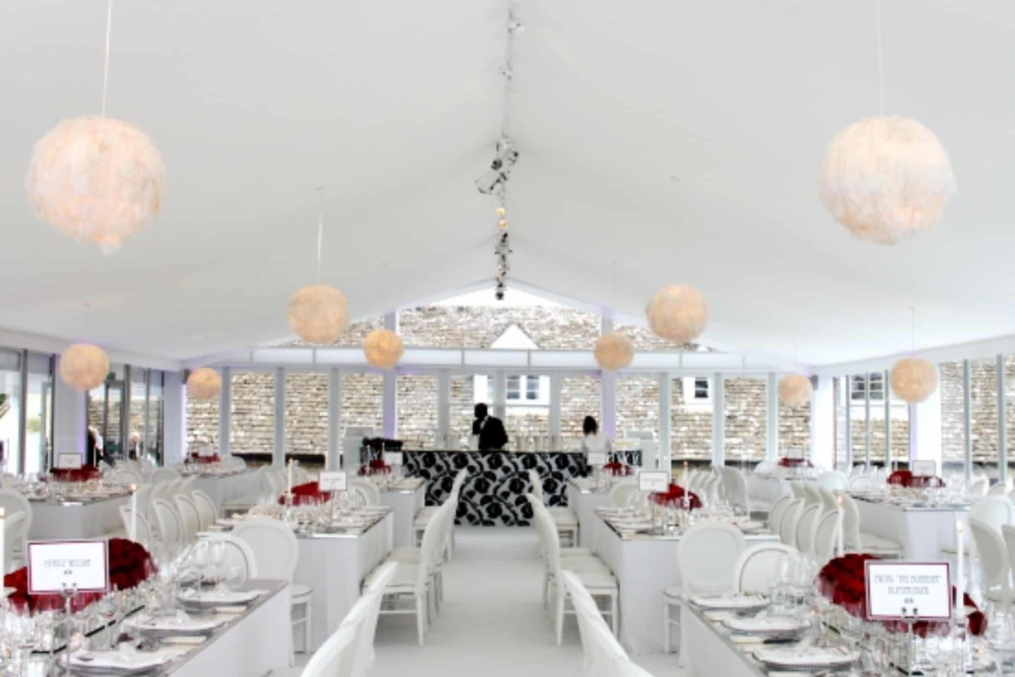 White wedding dining space