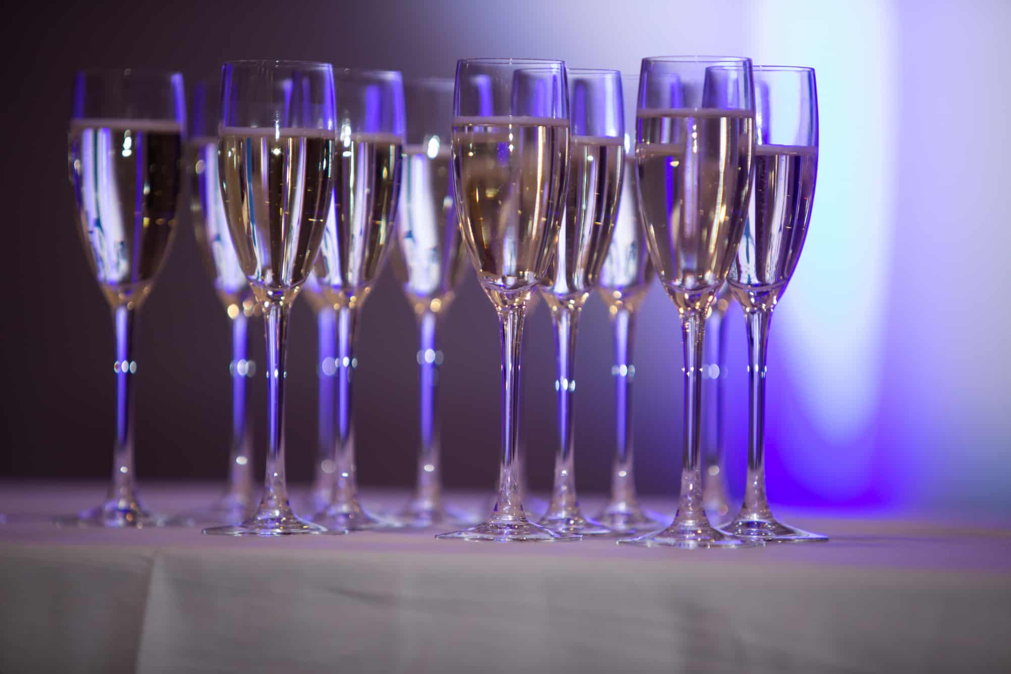 Filled Champagne flutes