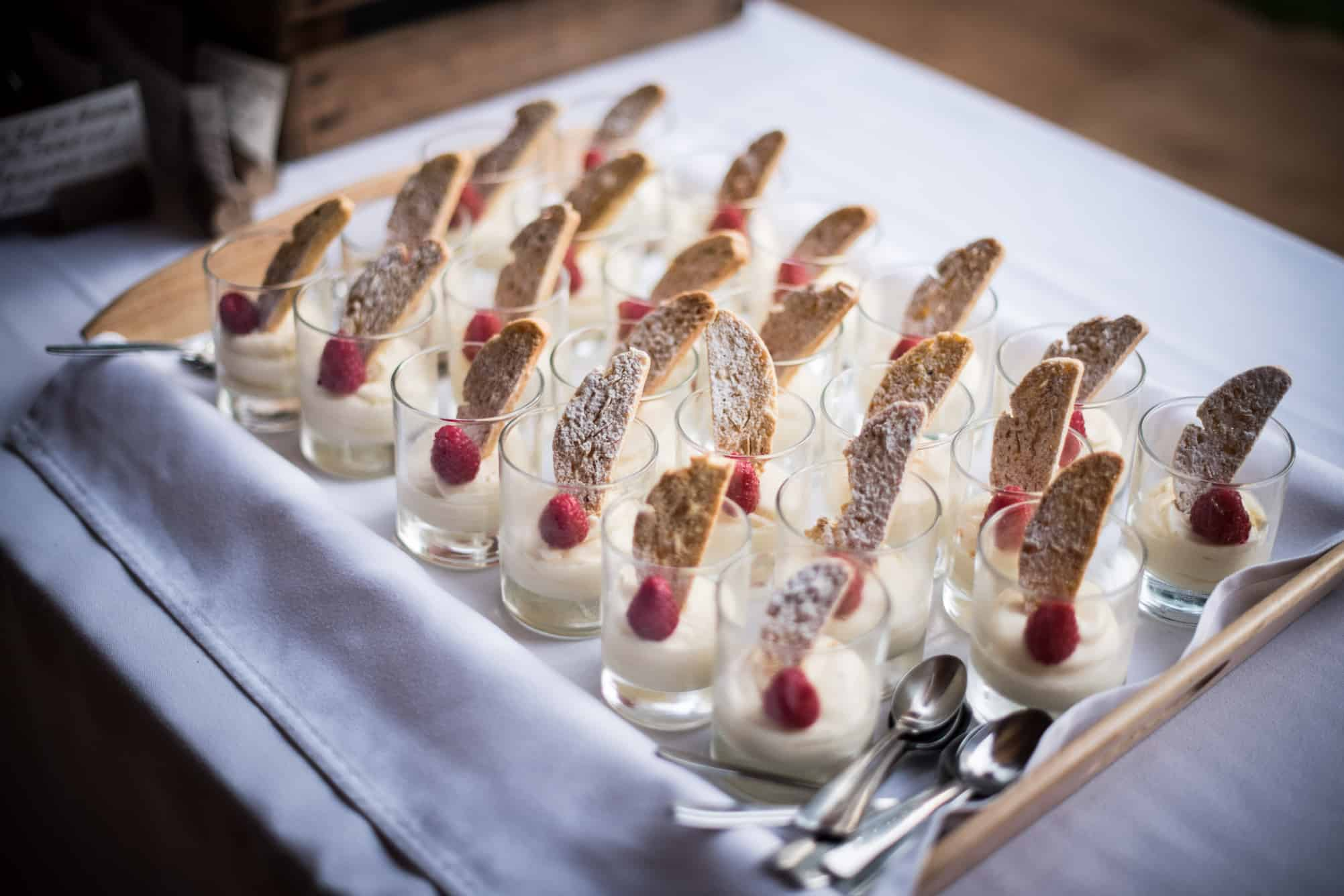 shot glass desserts at an outdoor party