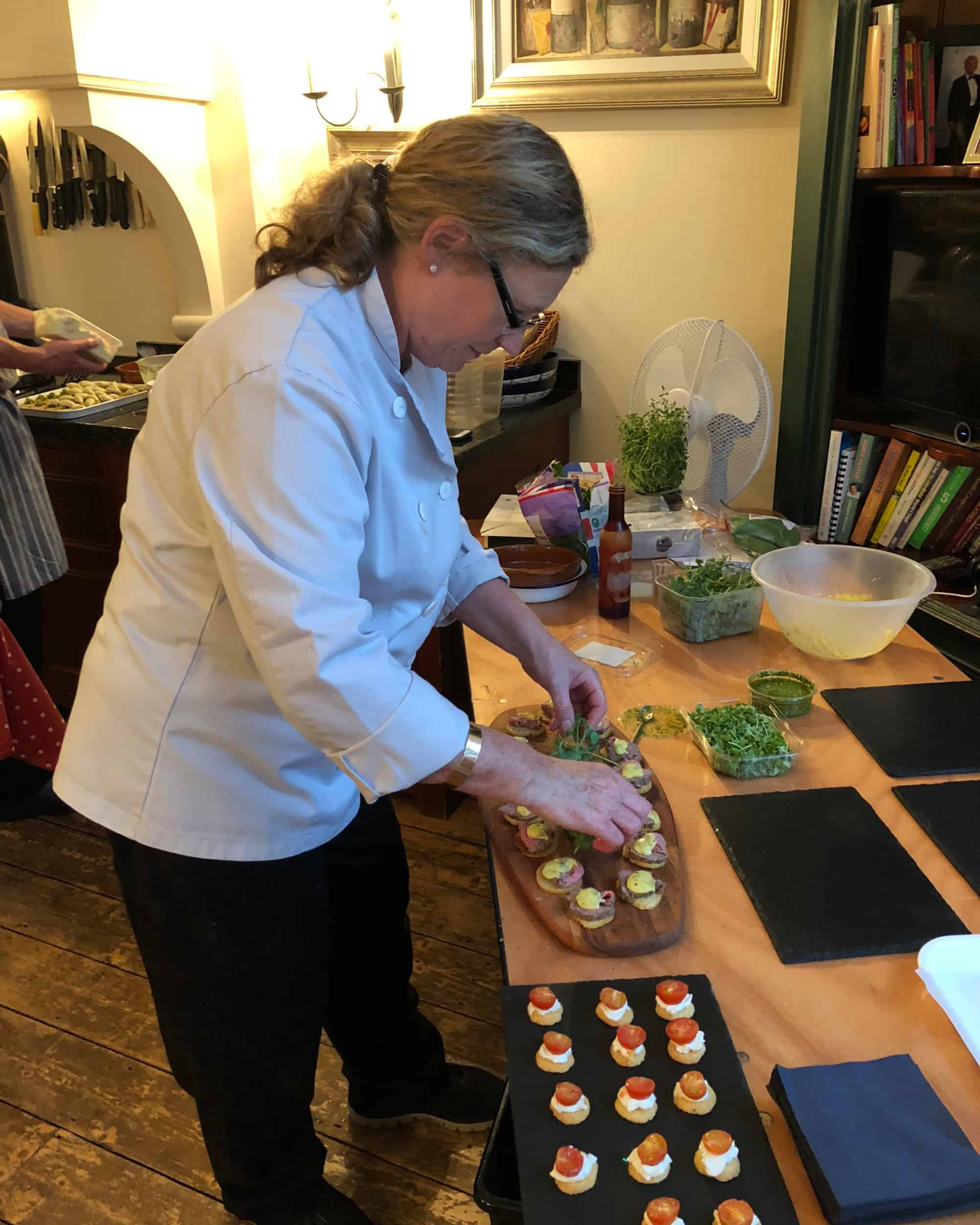 Chef preparing canapes for a party at home