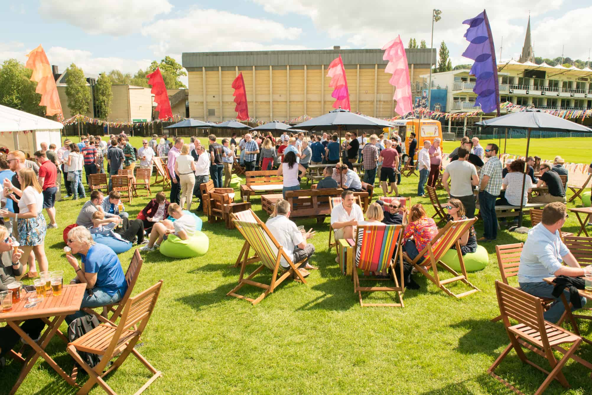 Festival flags deckchairs corporate event