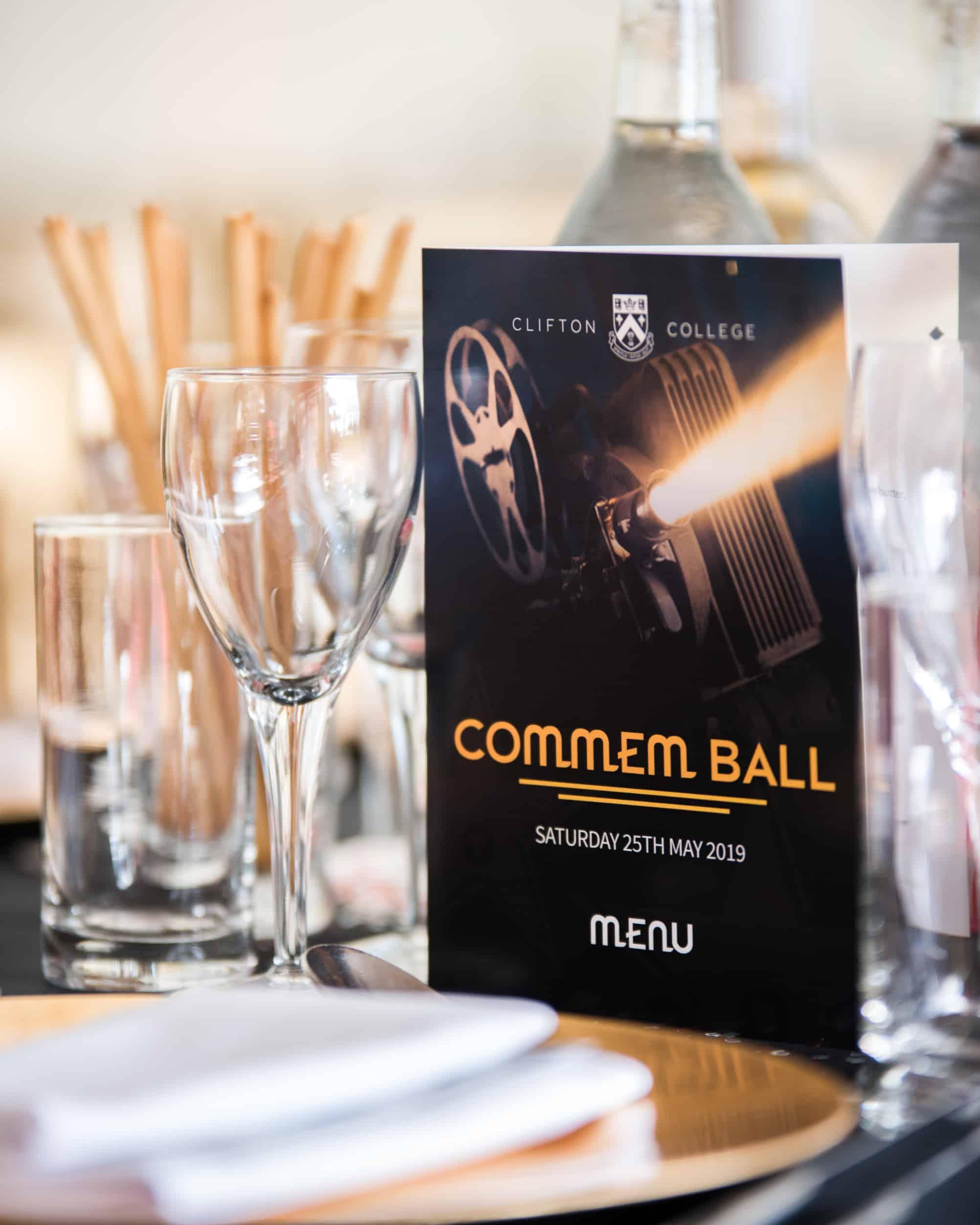 Clifton College commem ball menus