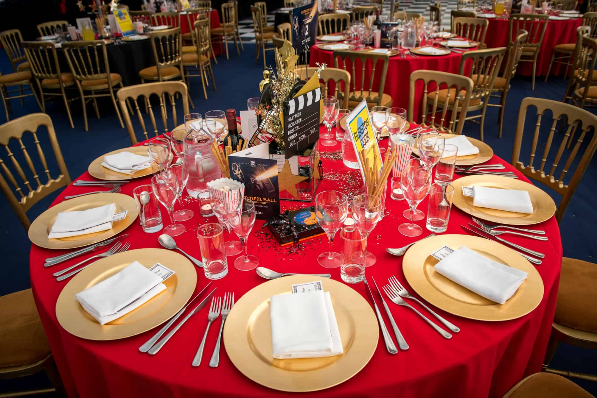 Red and gold table settings