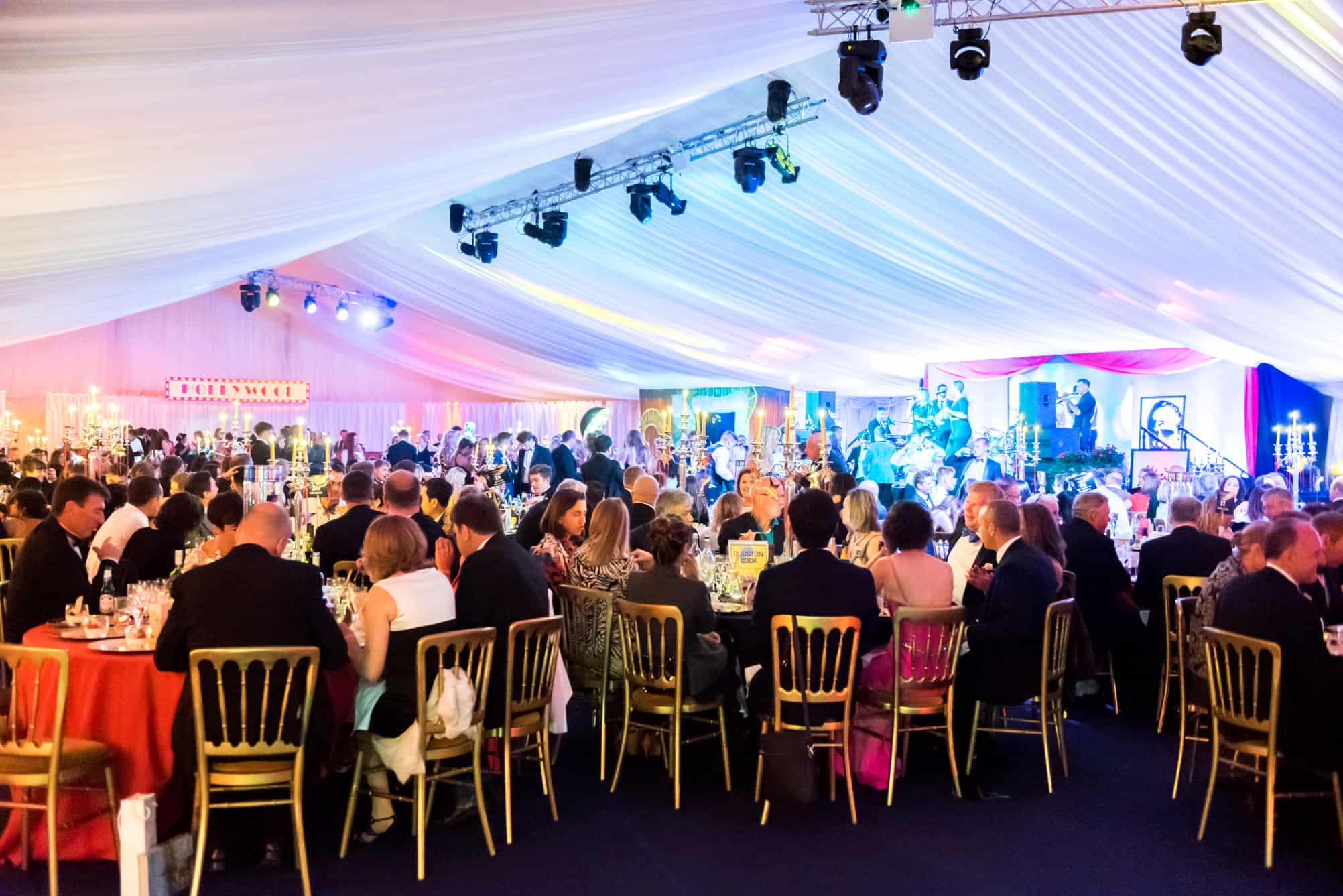 Within the marquee at Clifton College Ball