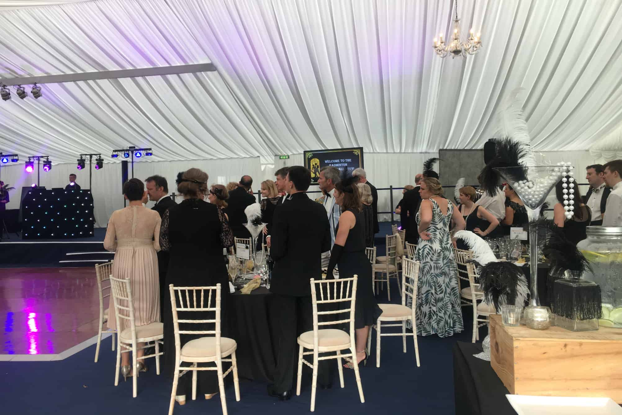 Ball within marquee at Badminton School