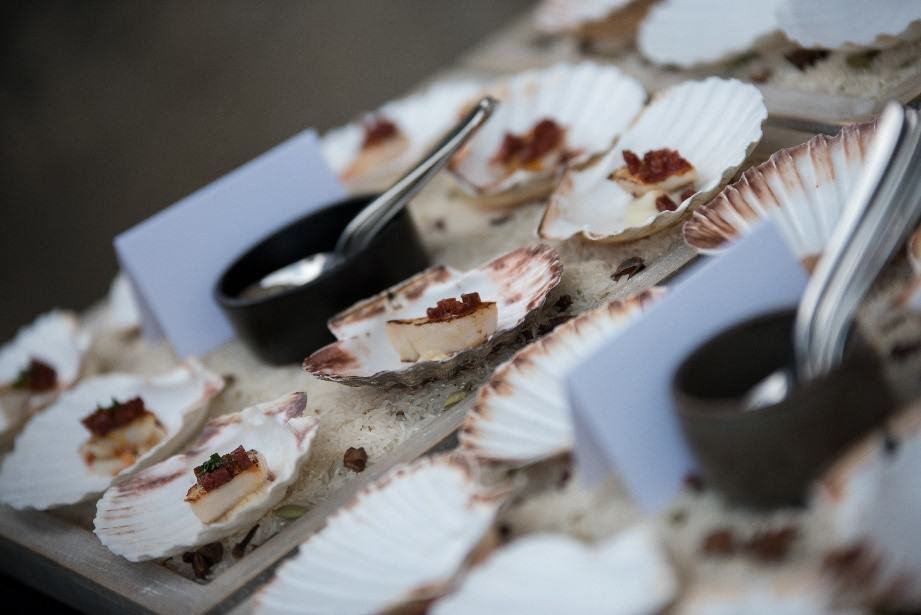 Scallop shell display canapes