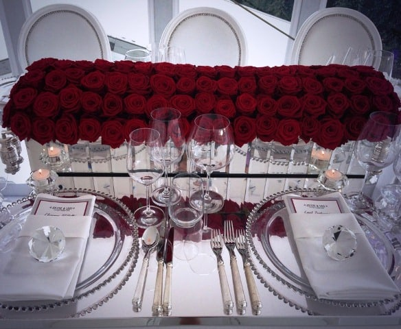 Red rose table centre 20's themed party wedding