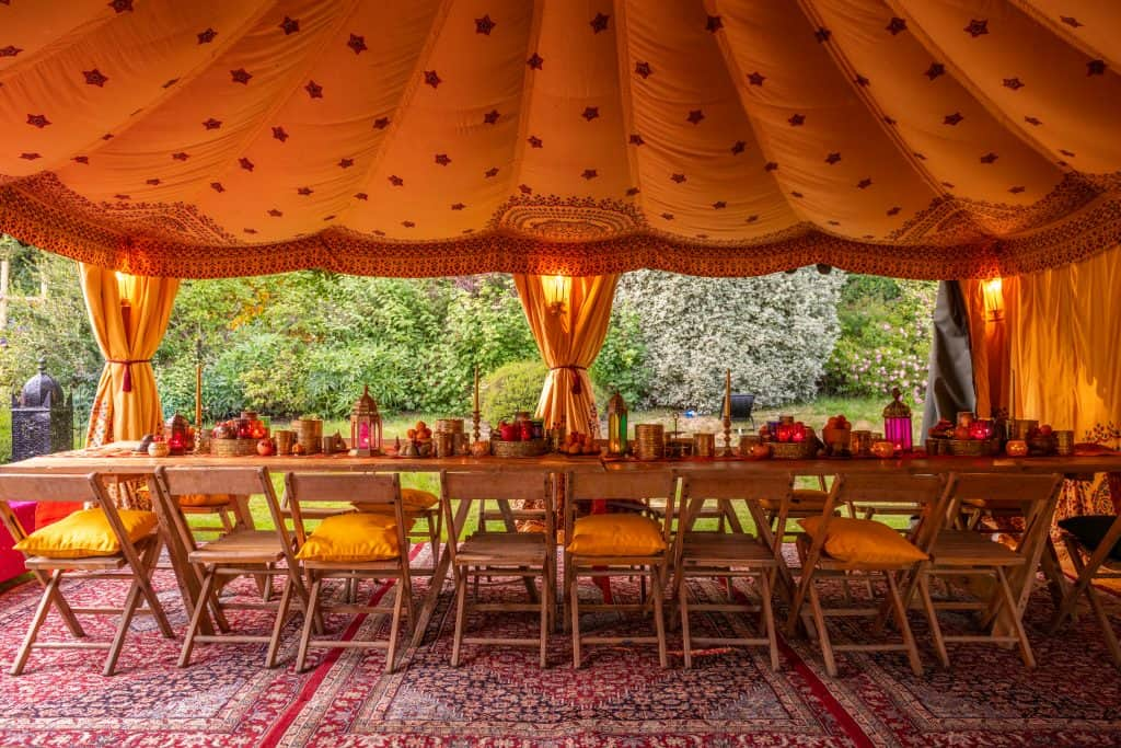 Beautiful back garden table set up in an Arabian style marquee