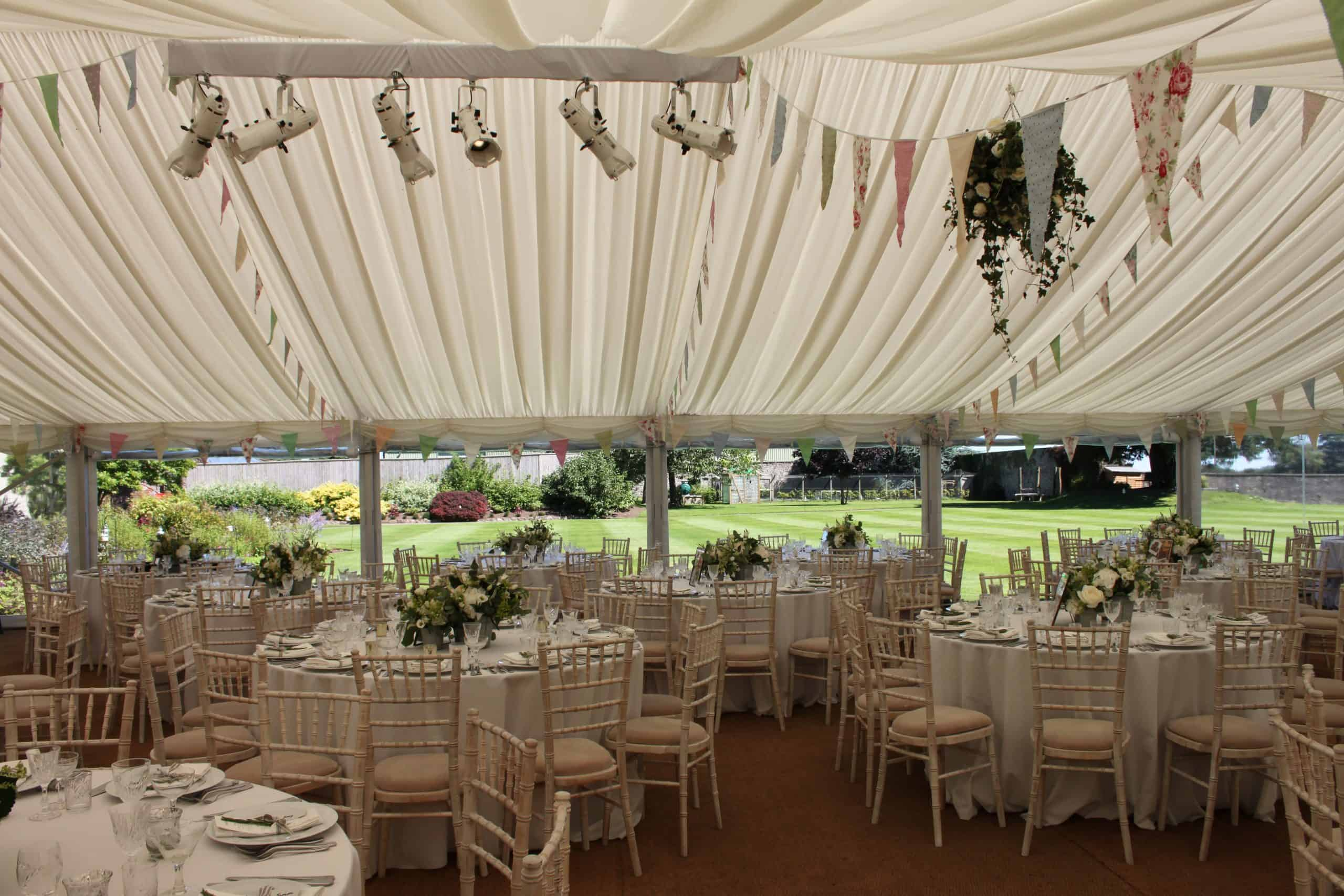 CMC Marquee The Down School Vintage Wedding - marquee set up