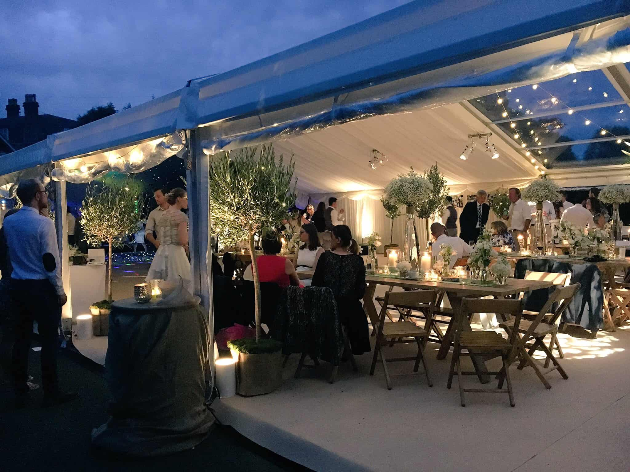 Beautiful Bristol Back Garden Wedding - dusk in the CMC Marquee
