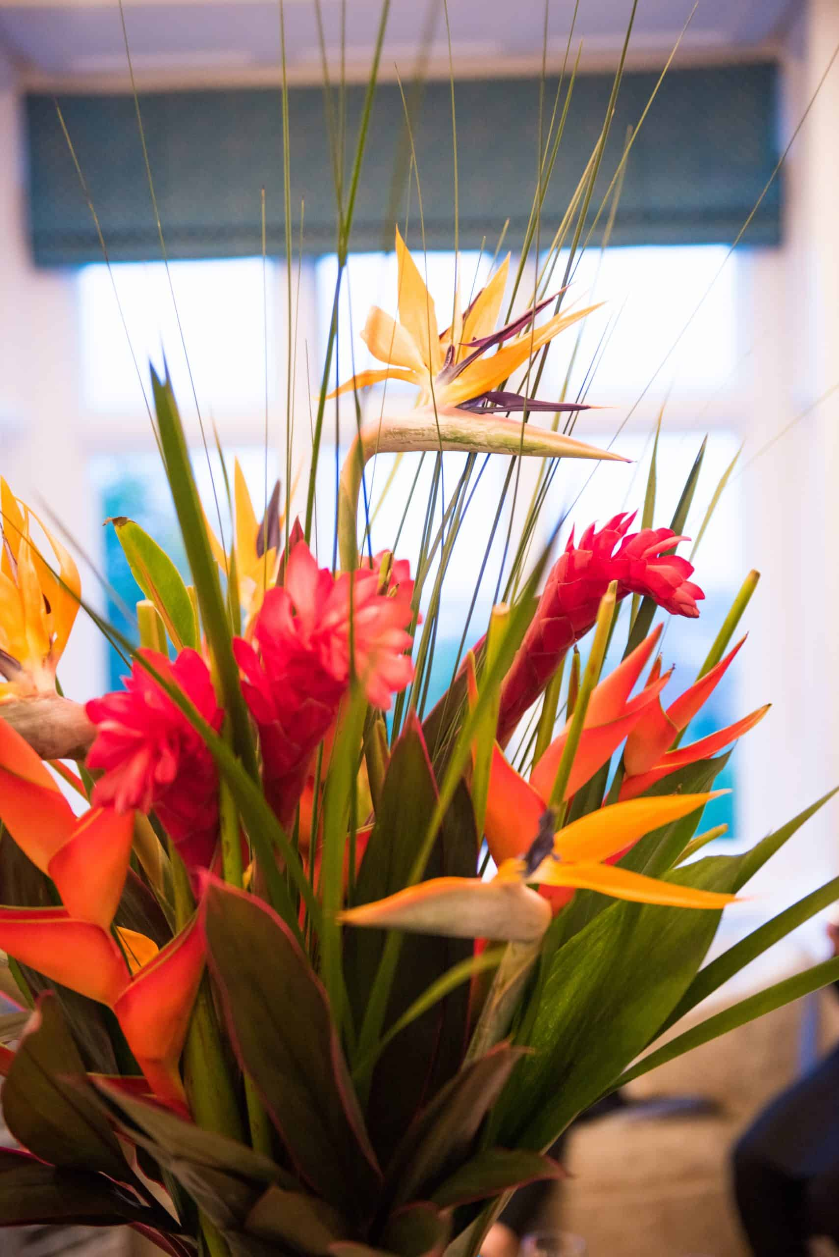 Tropical flower centrepiece at private party at home event planning by Alastair Currie Events