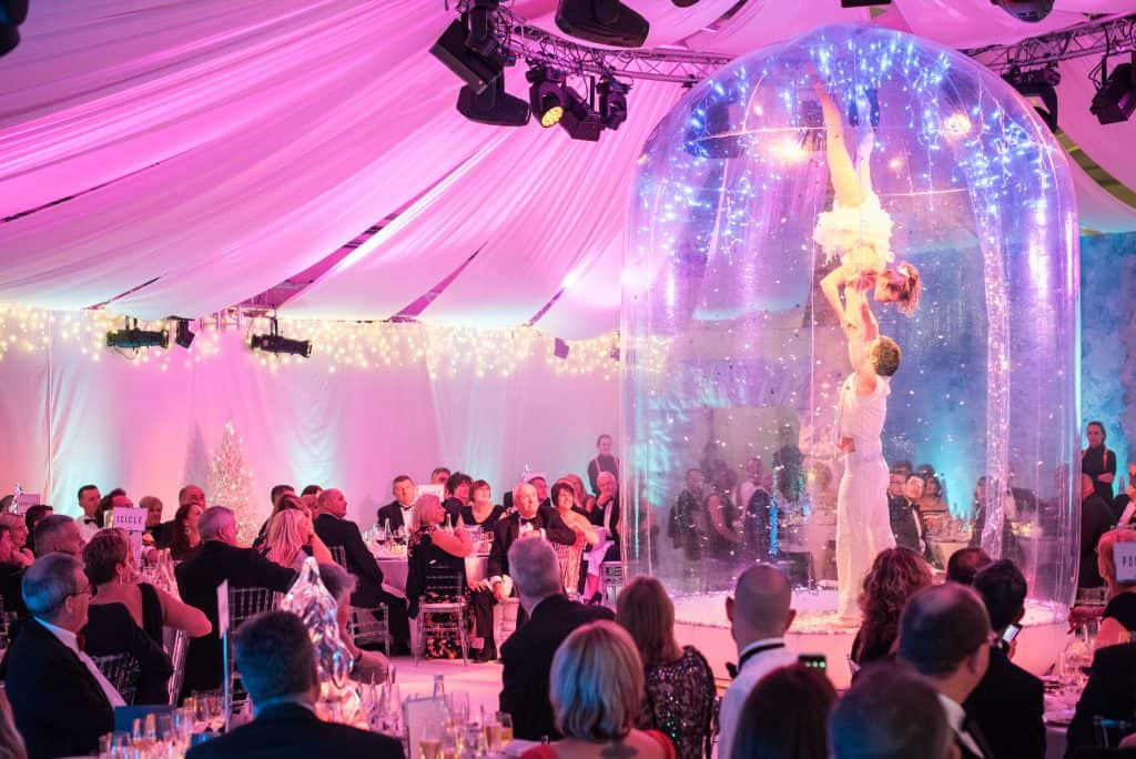 Snowglobe dancers in Winter Wonderland marquee party